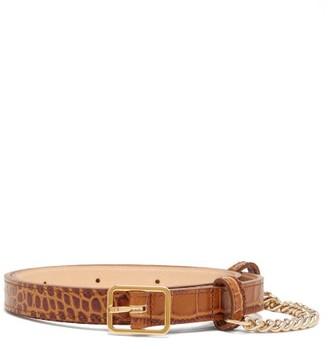 Hillier Bartley Crocodile-embossed Slim Leather Belt - Womens - Tan Gold