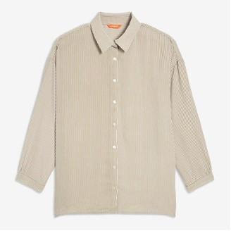 Joe Fresh Women+ Print Crepe Shirt, Khaki Brown (Size 3X)