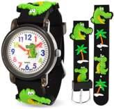 Bling Jewelry Black Alligator Palm Tree Kids Watch Stainless Steel Back.
