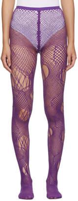 Junya Watanabe Purple Knit Mesh Tights
