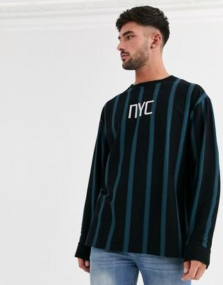New Look long sleeve vertical stripe NYC t-shirt in black
