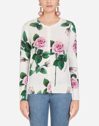 Dolce & Gabbana Tropical Rose Print Cardigan