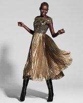 J. Mendel Beaded Off-the-Shoulder Plisse Cocktail Dress, Gold