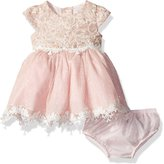 Rare Editions Baby Girls' Sparkle Lace to Mesh Social Dress