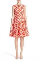 Lela Rose Women's Geometric Fil Coupe Godet Dress