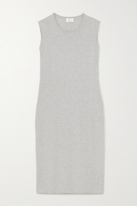Allude Cotton And Cashmere-blend Midi Dress - Gray