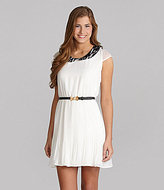 Sequin Hearts Belted Peter Pan-Collar Dress