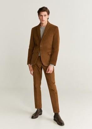 MANGO MAN - Slim fit corduroy blazer medium brown - 36 - Men