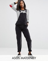 Asos Cord Patch Pocket Overall in Washed Black