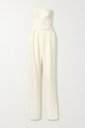 Brandon Maxwell Strapless Wool And Silk-blend Twill Jumpsuit - Ivory