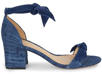 Alexandre Birman Clarita Tweed Suede Block-Heel Sandals