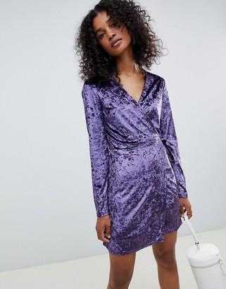 UNIQUE21 Unique 21 velvet wrap dress-Purple