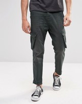 Asos Slim Cropped Cargo Jeans In Washed Khaki