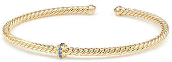 David Yurman Cablespira 18k Gold Flex Bracelet with Sapphire Center Station, Size M