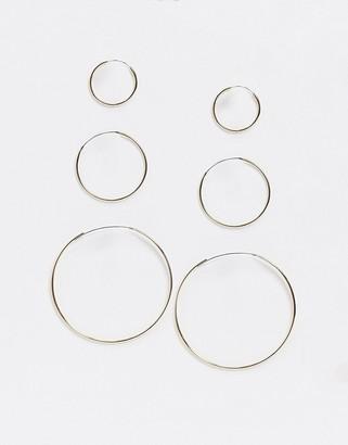 Topshop hoop earrings multipack x 3 in gold