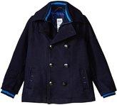HUGO BOSS Wool Coat Jacquard Boss Lining (Kid) - Bleu Cargo - 12A