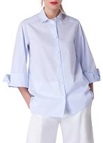 Closet Wide Sleeve Pin Stripe Blouse, Blue
