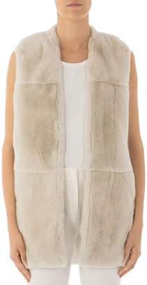Peserico Real Rabbit Fur & Knit-Back Vest