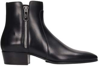 Balmain High Heels Ankle Boots In Black Leather