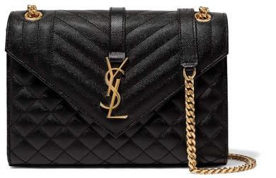 Saint Laurent Envelope Quilted Leather Shoulder Bag - Black