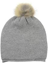 Sofia Cashmere Women's 100% Cashmere Honeycomb Hat with Coyote Fur Pom