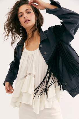 Free People After Hours Fringe Denim Jacket by Free People, Washed Black, S