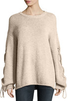 See by Chloe Lace-Up Sleeves Cable-Knit Pullover Sweater