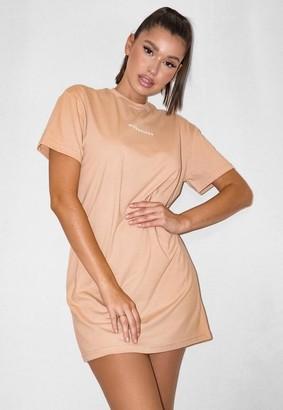 Missguided Camel Short Sleeve T Shirt Dress