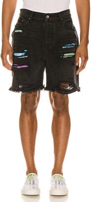 Amiri Watercolor Patch Thrasher Shorts in Aged Black | FWRD