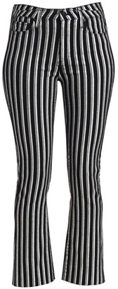 Paige Colette High-Rise Crop Flare Metallic Stripe Jeans