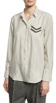 Brunello Cucinelli Striped Silk Shirt with Monili Military Beading, White/Green