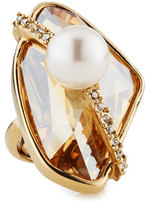 Oscar de la Renta Asymmetric Crystal Simulated-Pearl Ring