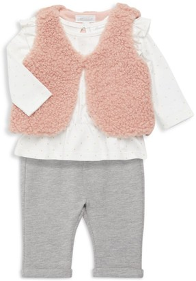 Miniclasix Baby Girl's 3-Piece Faux Fur Vest, Top & Pants Set
