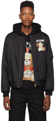 Moschino Black Roman Teddy Bear Bomber Jacket