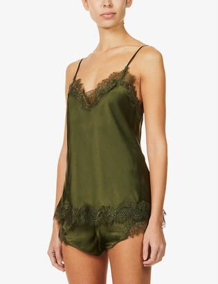 Sainted Sisters Scarlett lace-trim silk-satin pyjama shorts