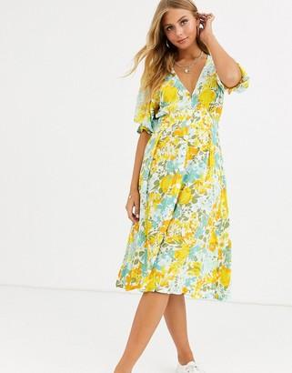 Faithfull The Brand Faithfull rafa midi floral print short sleeve dress