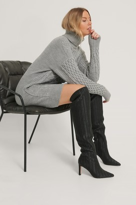 NA-KD Structured Over Knee Boots