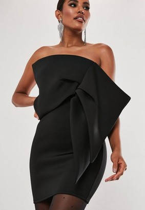 Missguided Black Scuba Oversized Bow Bandeau Mini Dress