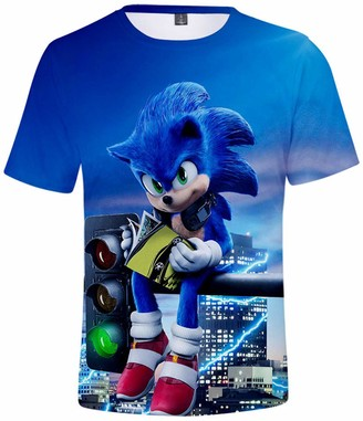 Silver Basic Boys Sportswear 3D T-Shirt Inspired by The Popular Movie and Video Game Sonic The Hedgehog Summer Tshirt Sonic Cosplay Tee Top 3XL