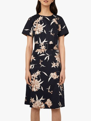 Warehouse Floral Print Belted Midi Dress, Multi