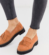 Asos Design DESIGN Wide Fit Meze chunky fringed suede loafers in tan