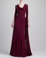 Zac Posen Cape-Back Gown, Deep Raspberry