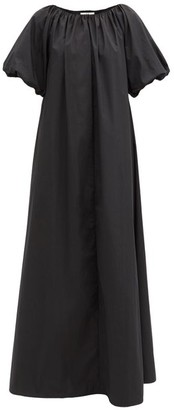 Co Boat-neck Balloon-sleeve Cotton-blend Maxi Dress - Black