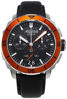 Alpina Al-372lbo4v6 Seastrong Diver Leather Strap Watch, Black