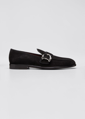 Dolce & Gabbana Men's Suede D-Buckle Strap Loafers