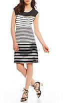 Calvin Klein Variegated Stripe Knit Jersey Zipper Trim Dress