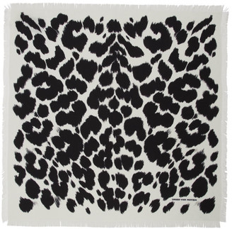 Dries Van Noten Off-White and Black Silk Handkerchief