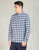 Penfield Navy Kemsey Brushed Plaid Long Sleeve Shirt