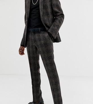 Heart N Dagger slim suit pants in brown harris tweed
