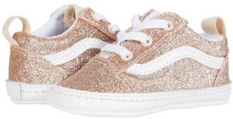 Vans Kids Old Skool Crib (Infant/Toddler) ((Glitter) Brazilian Sand/True White) Girl's Shoes
